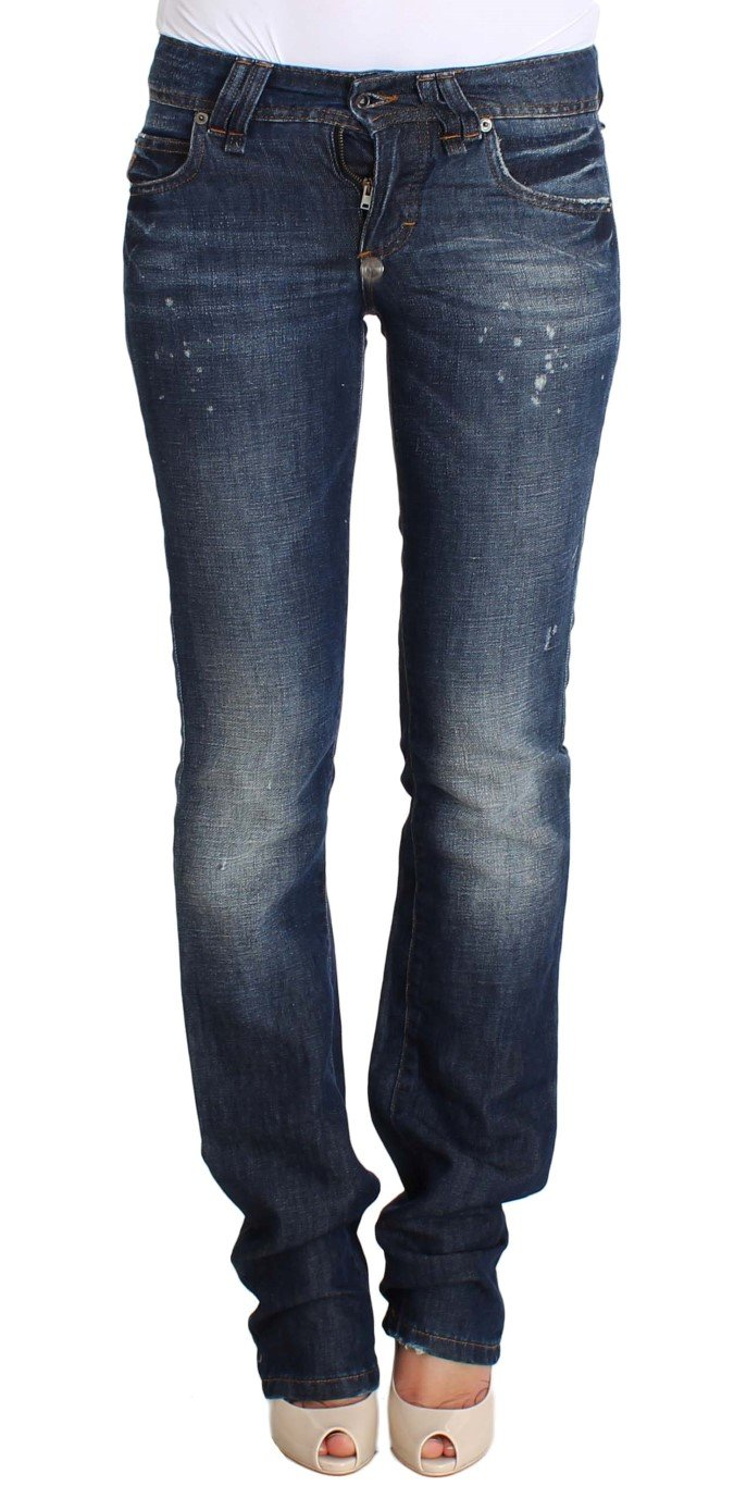 John Galliano Women's Flare Boot Cotton Lenin Jeans Blue SIG30285 - W26