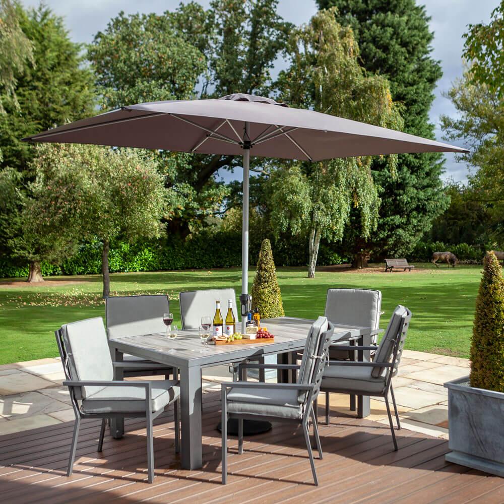 2020 Hartman Titan 6 Seat Rectangular Dining Set with Tuscan Ceramic Table and 3m Parasol - Pewter/Seal