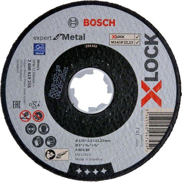 Bosch Expert for Metal Kappskive X-LOCK, rett skjæring 125 × 2,5 × 22,23 mm
