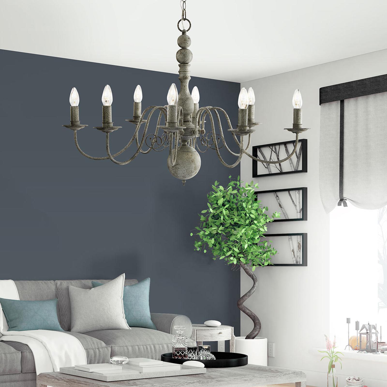 8-lamppuinen Greythorne-kattokruunu