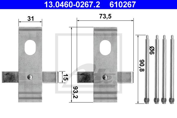 Tarvikesarja, jarrupala ATE 13.0460-0267.2