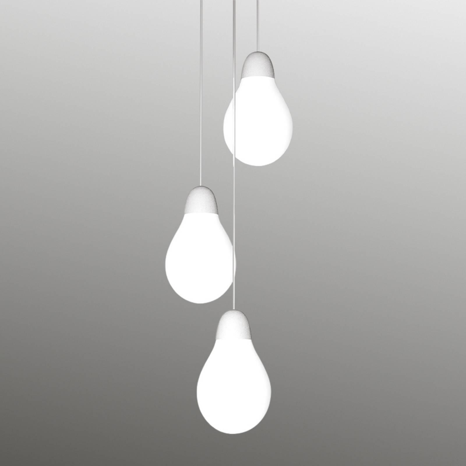 Kolmilamppuinen Plum-riippuvalaisin Bohemia-lasia