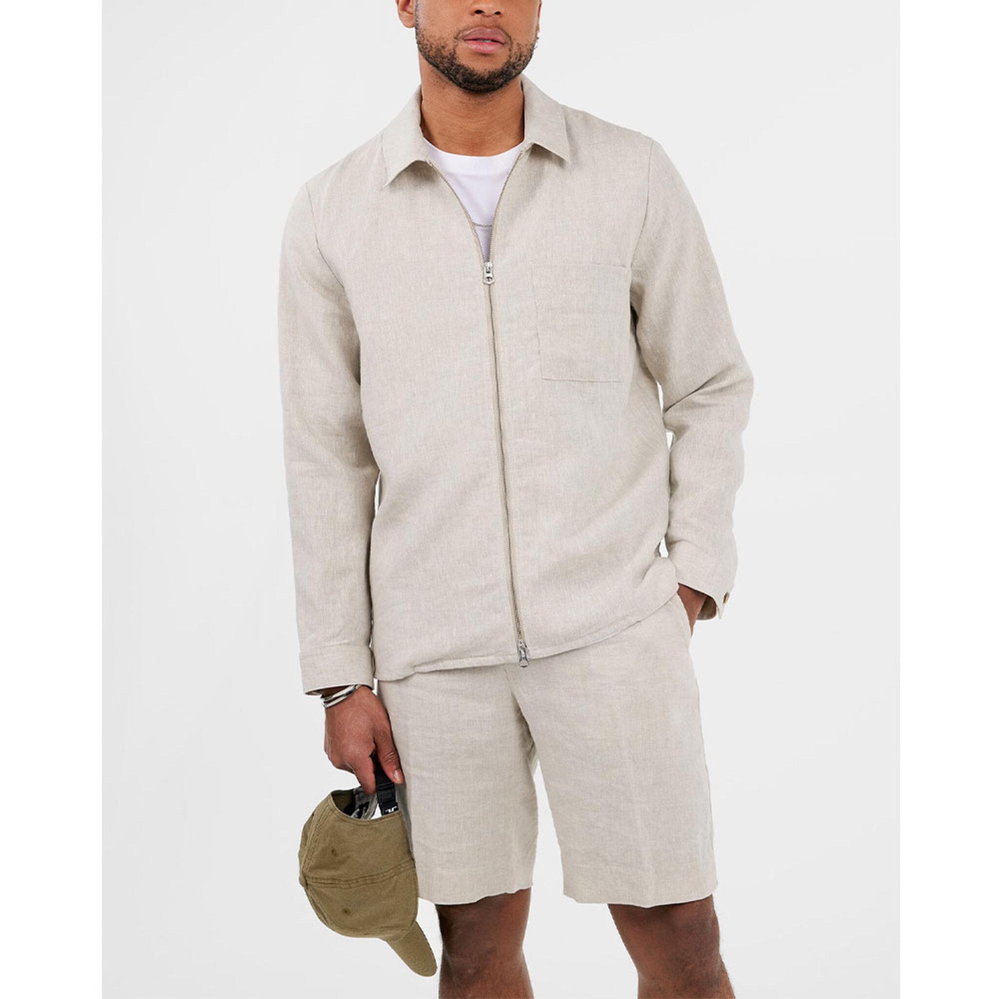 Jason Zip Drape Linen Shirt