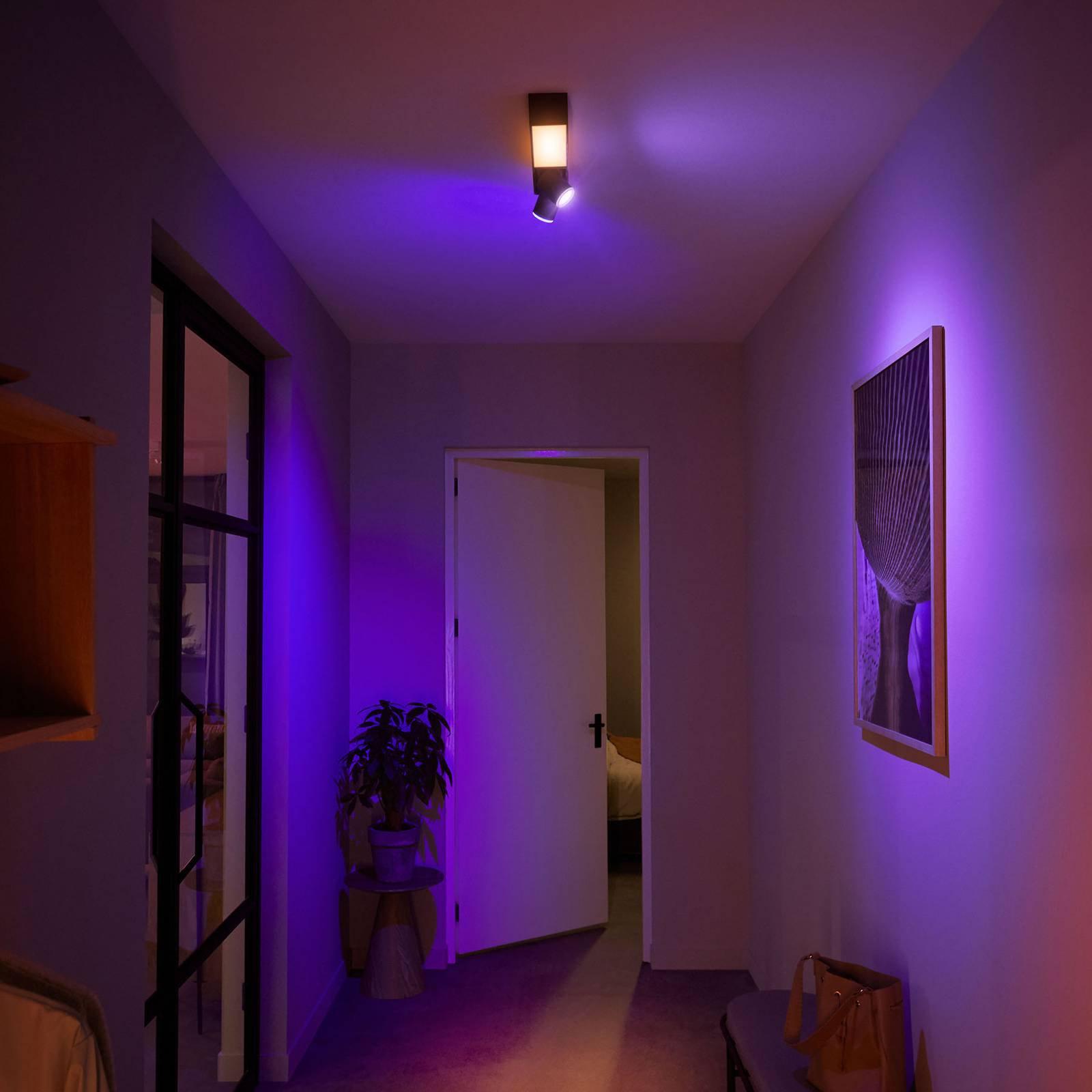 Philips Hue LED-spot 2 lyskilder, svart