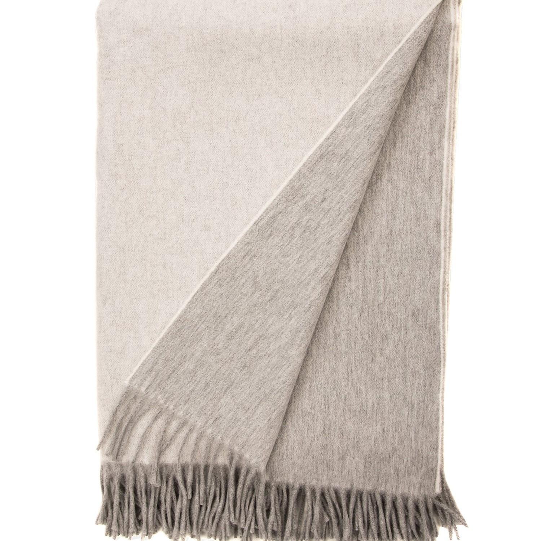 Begg X Co I Jura Reversible Lambswool Angora Throw Flannel White