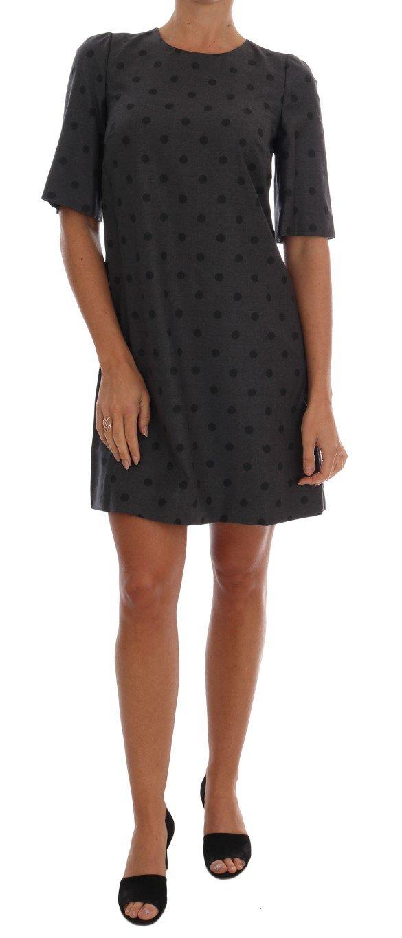 Dolce & Gabbana Women's Polka Dotted Sheath Wool Dress Gray DR1216 - IT40 S