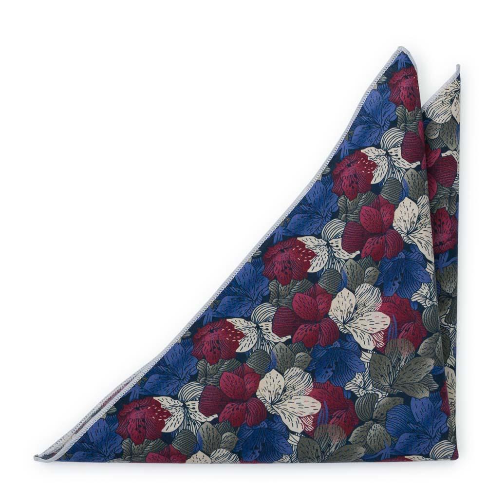 Bomull Lommetørkler, Blomster i hvitt, burgunder, khaki og lavendel