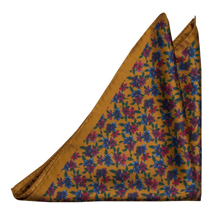 Silke Lommetørkler, Sennepsgul med flerfargede blomster, Gull, Blomstrete