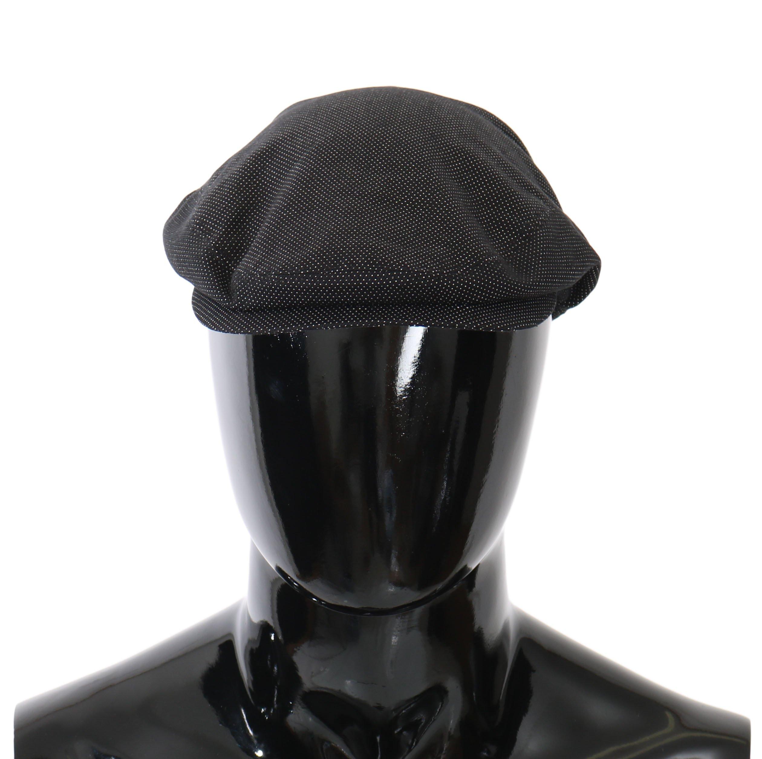 Dolce & Gabbana Men's Dotted Crown Logo Newsboy Capello Hat Black HAT81025 - 58 cm|M