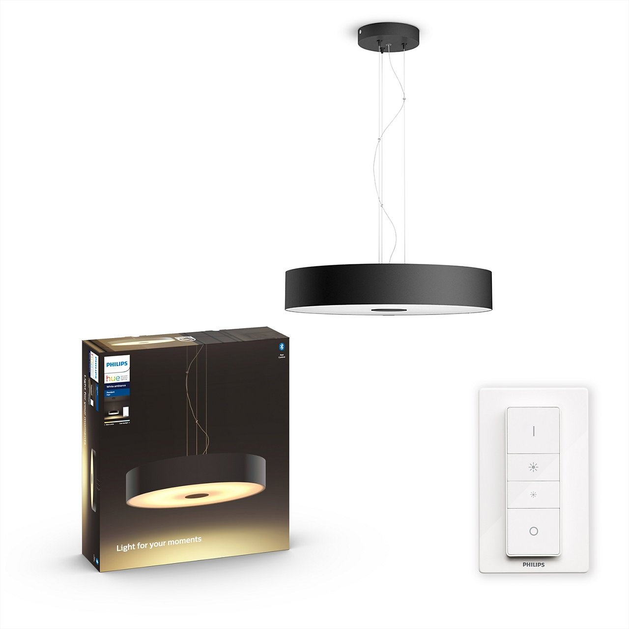 Philips Hue - Fair Hue pendant black 1x39W 24V - White Ambiance - Bluetooth Included Dimmer