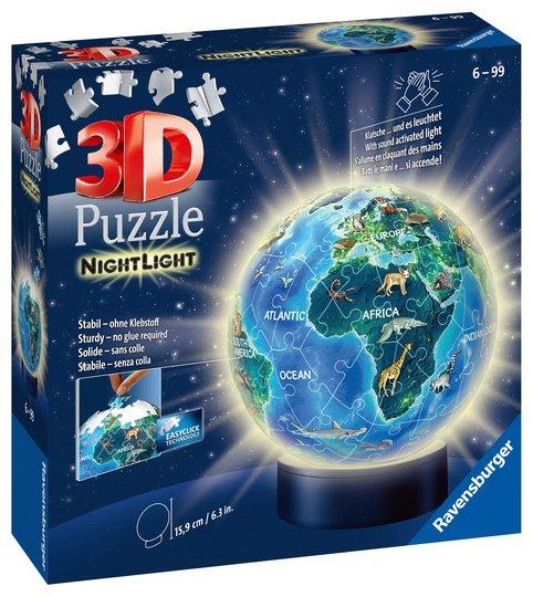 Ravensburger 3D Puslespill Globus Dyr, Nattlampe 72 Brikker