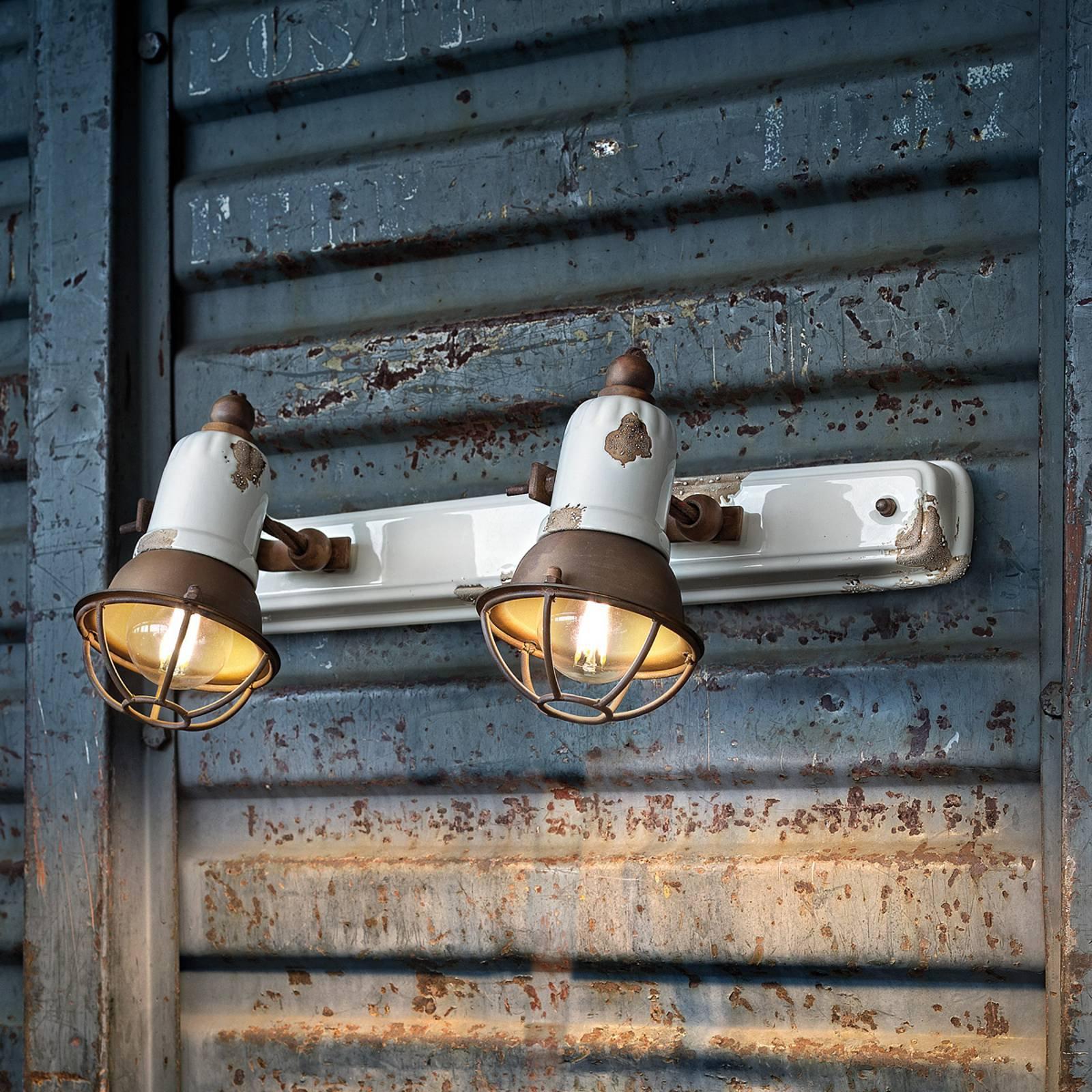 Vegglampe C1676/1 med kurv, 2 lyskilder, hvit