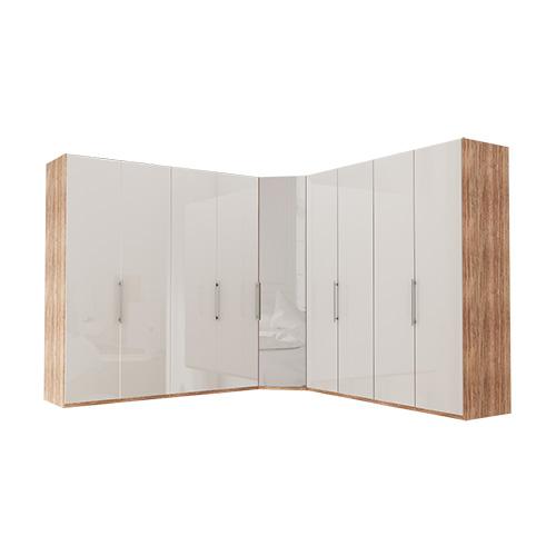 Garderobe Atlanta - Lys rustikk eik 200 + hjørne + 200, 216 cm