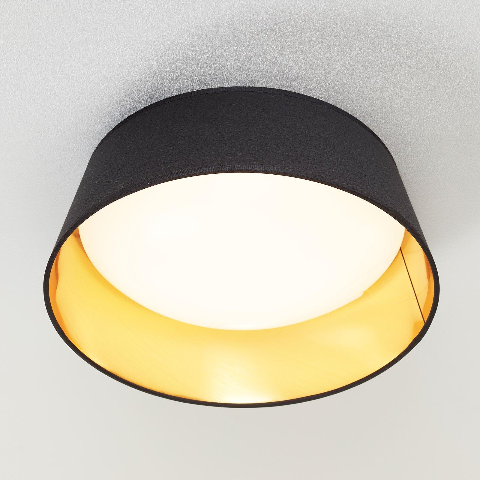 Svart, gyllen taklampe Ponts i tekstil med LED-lys