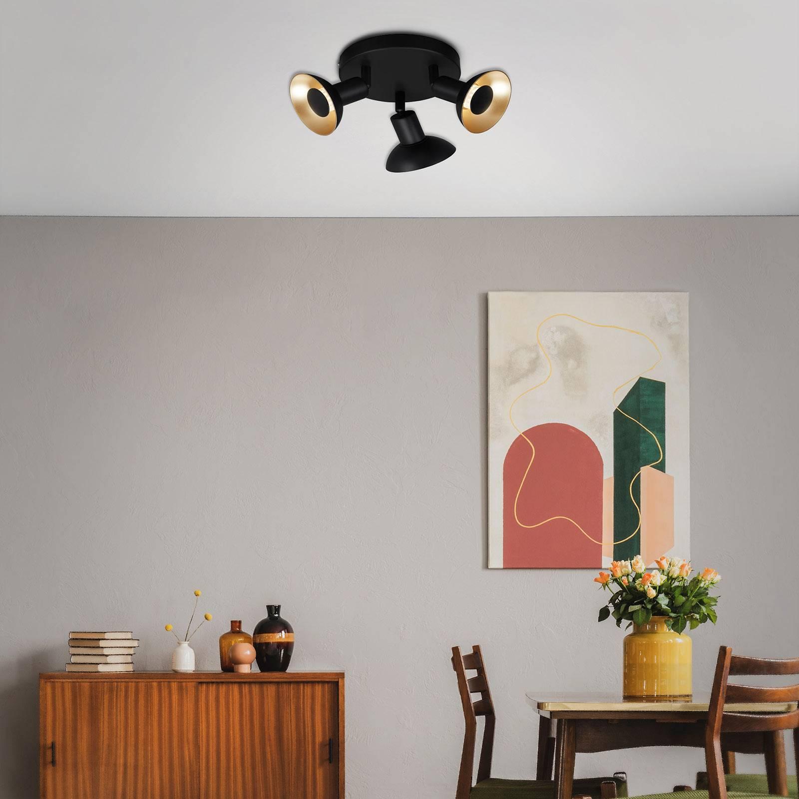 LED-kattovalaisin Kukui, pyöreä 3-lamppuinen