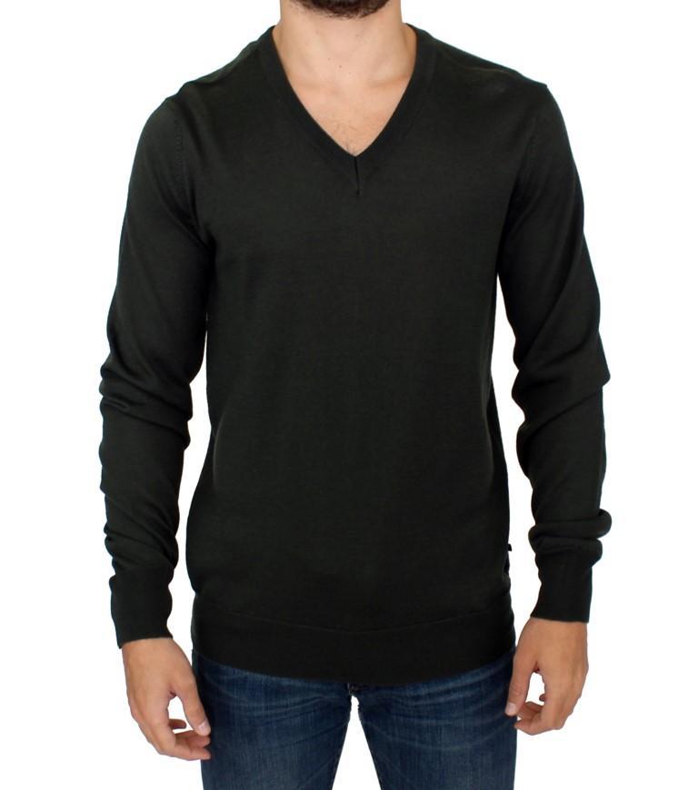 Costume National Men's Striped V-neck Sweater Green SIG10376 - IT48   M