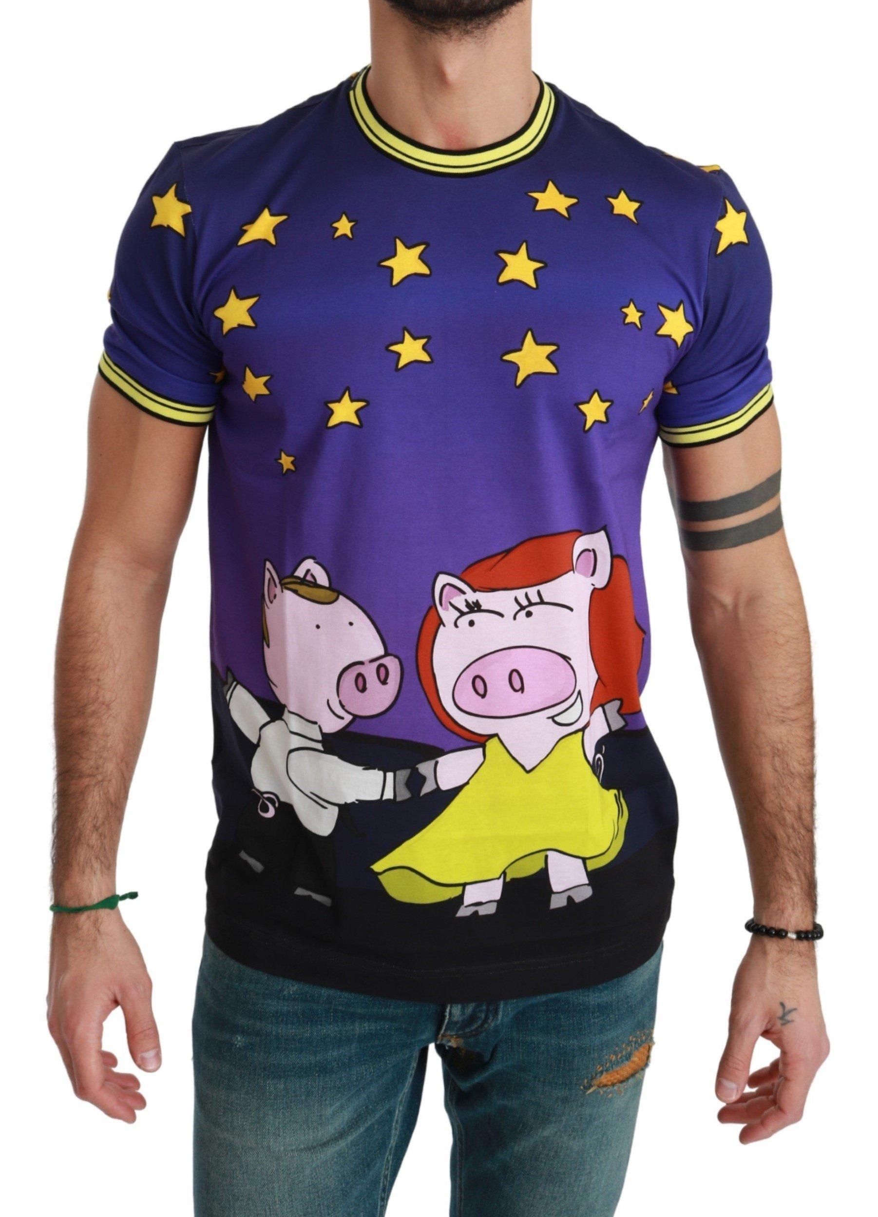 Dolce & Gabbana Men's Cotton Pig T-Shirt Purple TSH4562 - IT46 | S