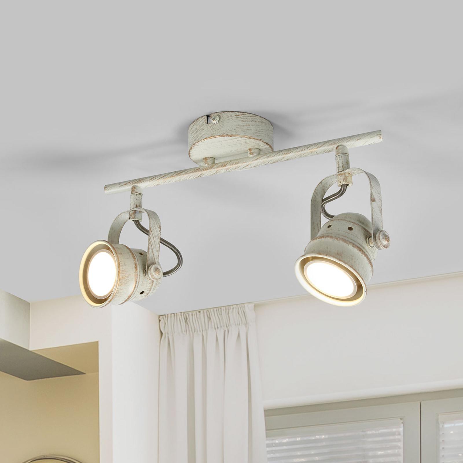 2-lamppuinen LED-kattolamppu Leonor, valkoinen