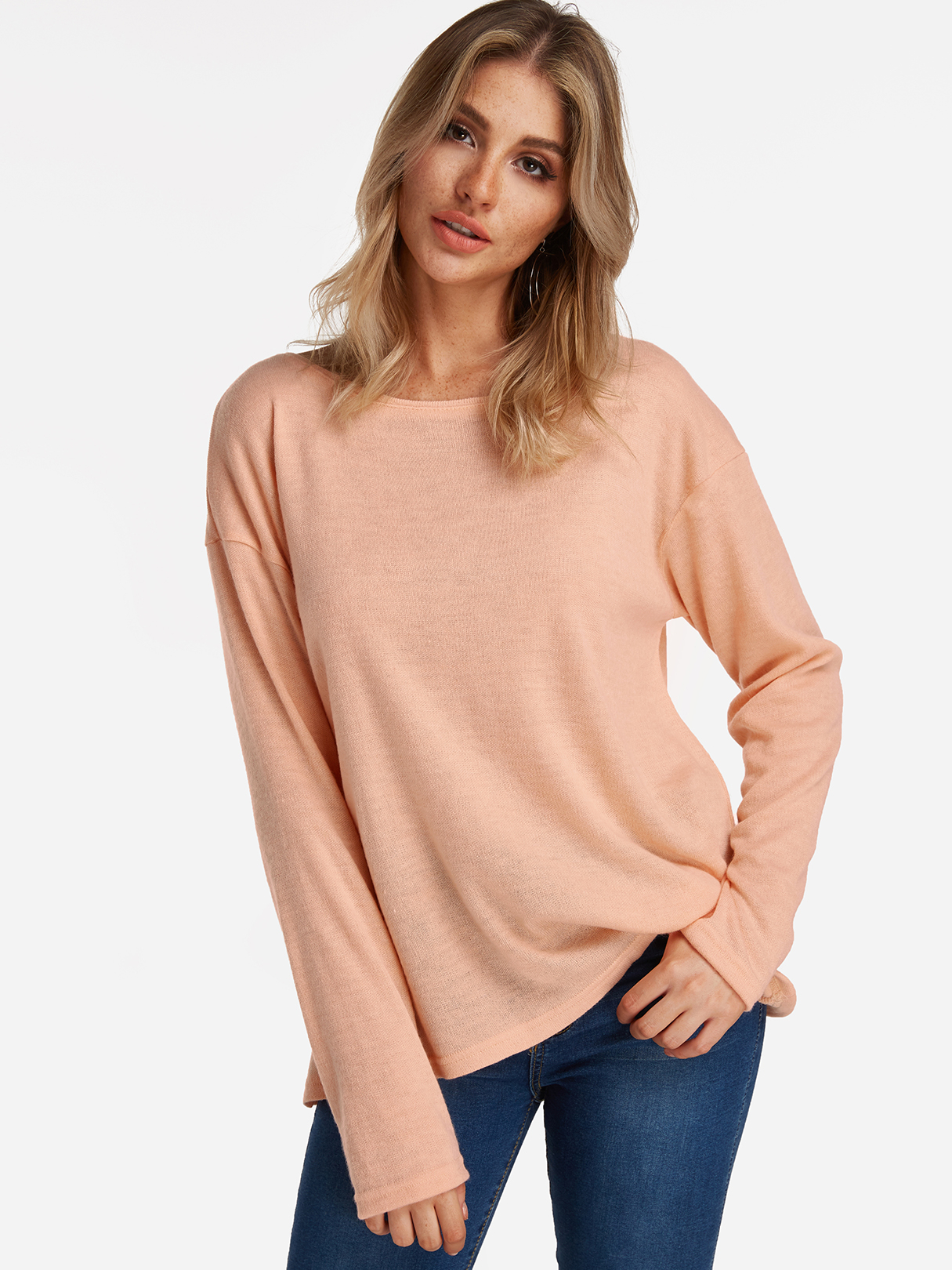 Pink Adjustable Neck Plain Round Neck Long Sleeves T-shirts