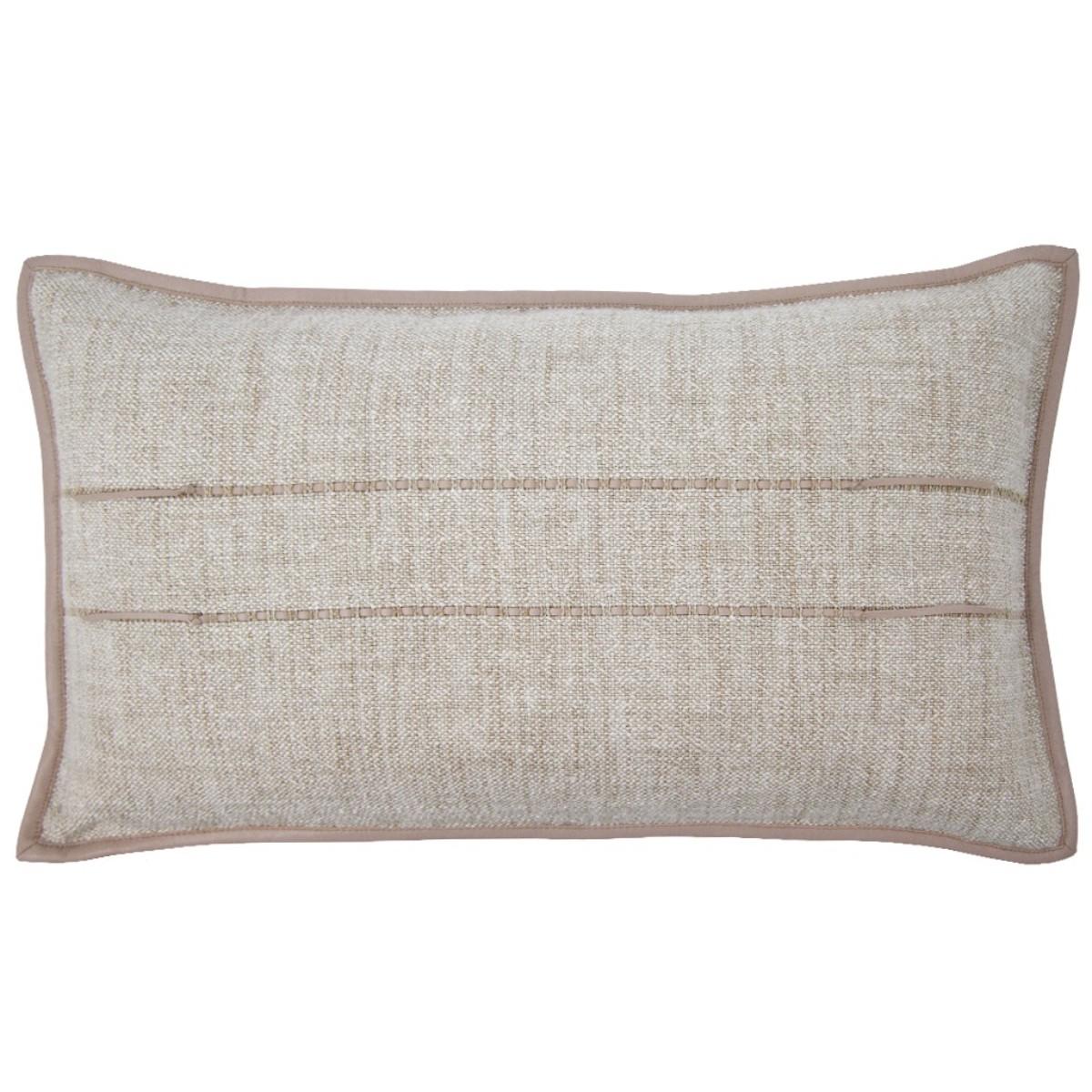 de Le Cuona   Hoxton Cushion With Leather Detail Flax