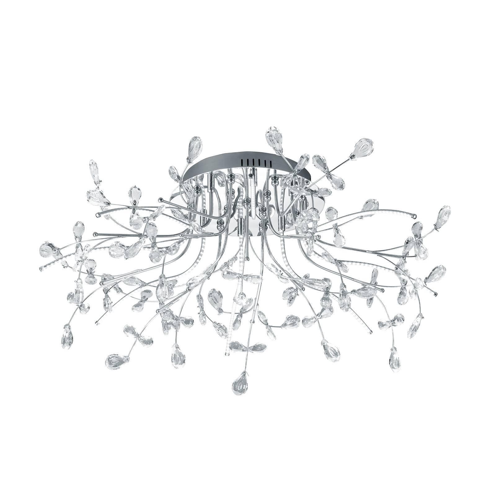 B-Leuchten Crystal taklampe, krom, 77 cm