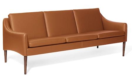 Mr. Olsen 3-sitssoffa Cognac Läder Smoked Ek