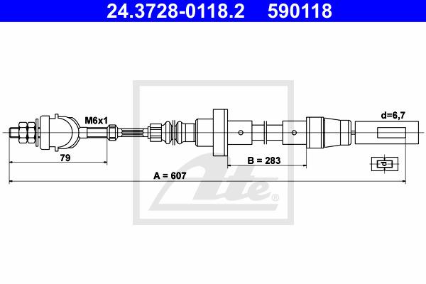 Kytkinvaijeri ATE 24.3728-0118.2
