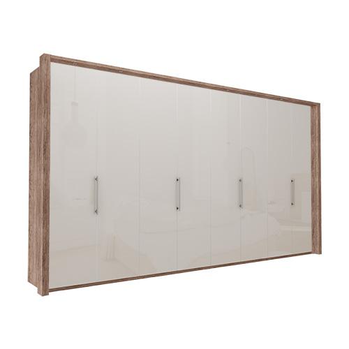Garderobe Atlanta - Mørk rustikk eik 400 cm, 216 cm, Med ramme