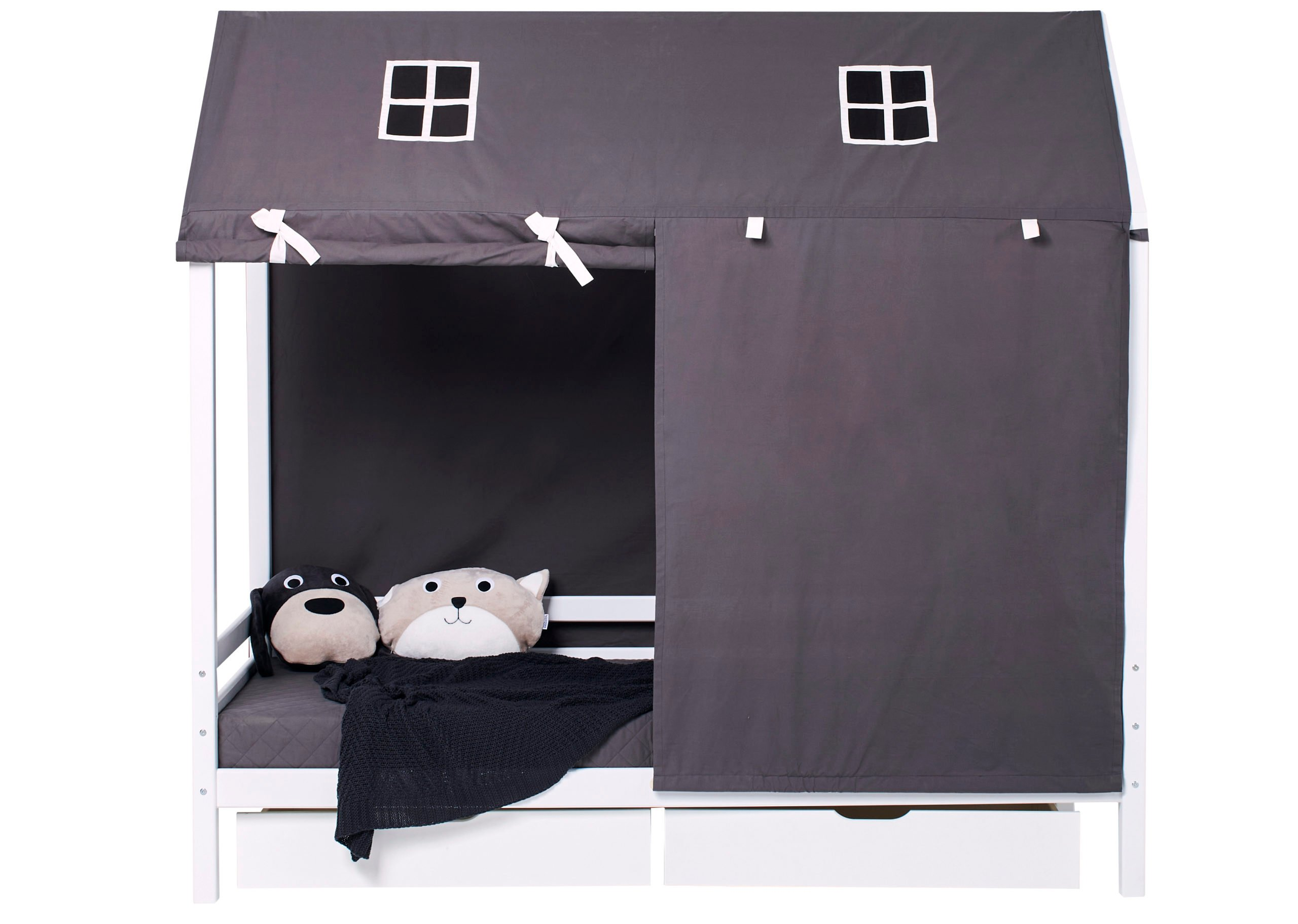 Hoppekids - Textile Roof Curtains for House Bed 90x200 cm - Pets Granite Grey