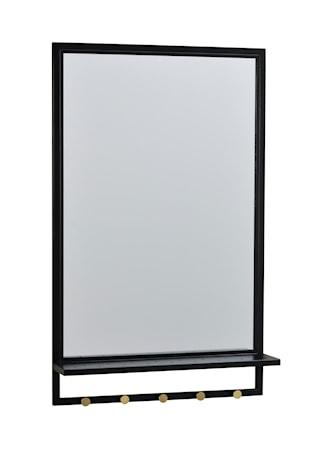 Jersey Spegel med hylla Svart Metall/guldknopp 50x80 cm