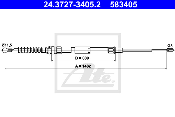 Cable, parking brake ATE 24.3727-3405.2
