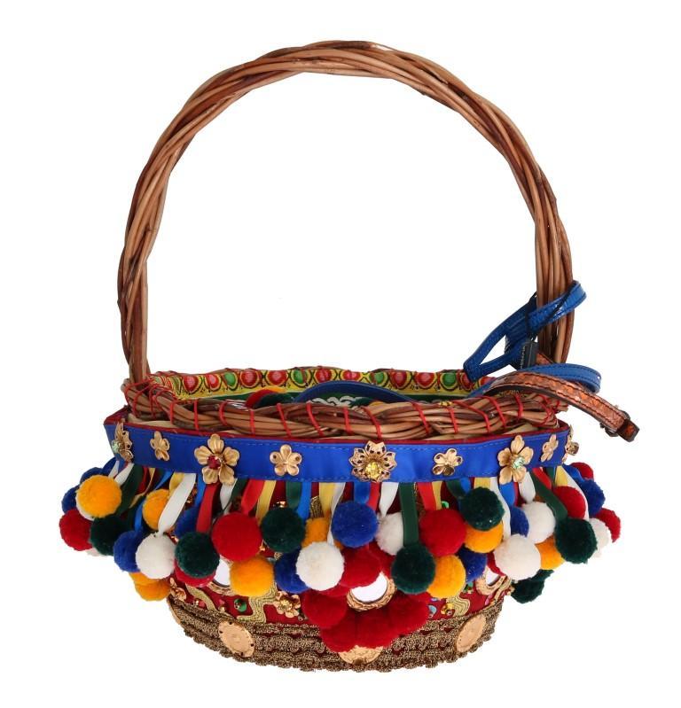 Dolce & Gabbana Women's AGNESE Straw Crystal Tote Bag Multicolor VAS1259