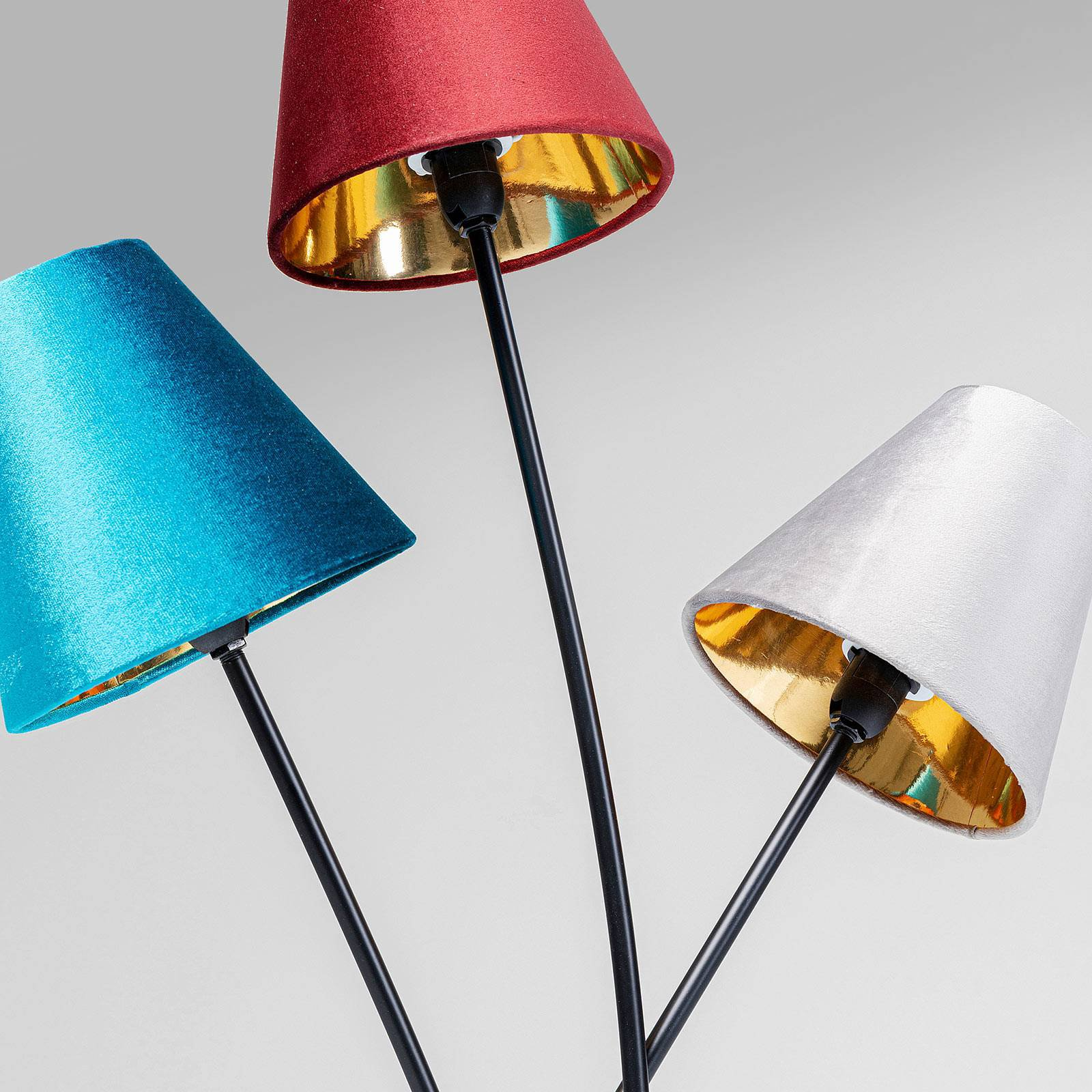 KARE Flexible Velvet Tre gulvlampe svart/fargerik