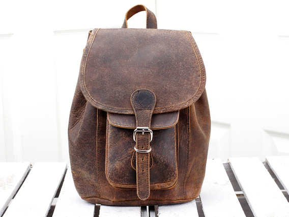 Boho Girls And Boys Mini Leather Backpack Brown 8.5 Inch
