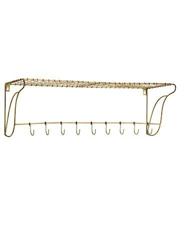 Hylle med krokar 76x26,5x24 cm - Messing