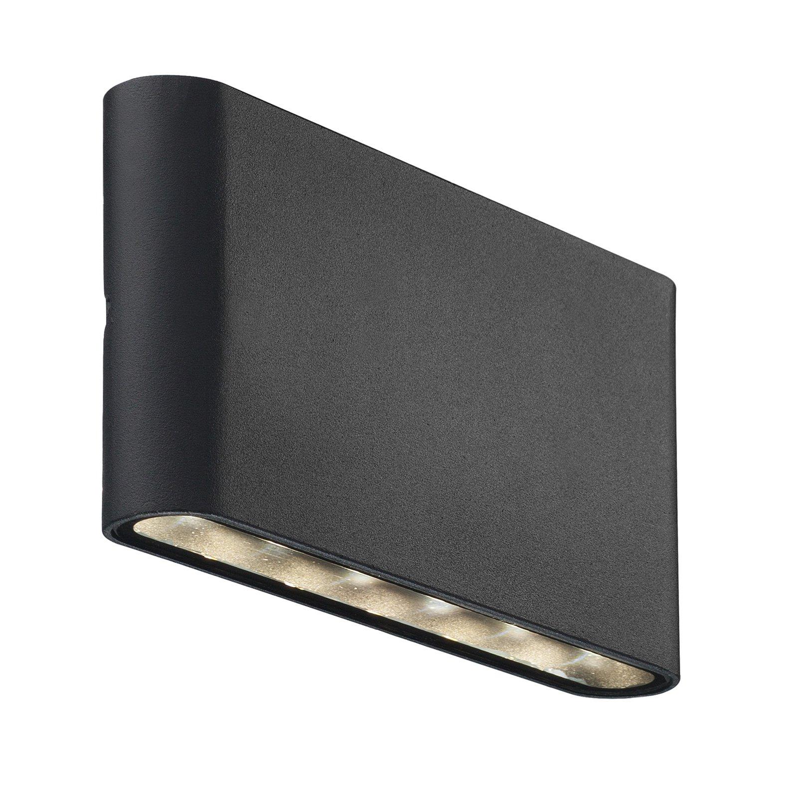 Utendørs LED-vegglampe Kinver i flat form, svart