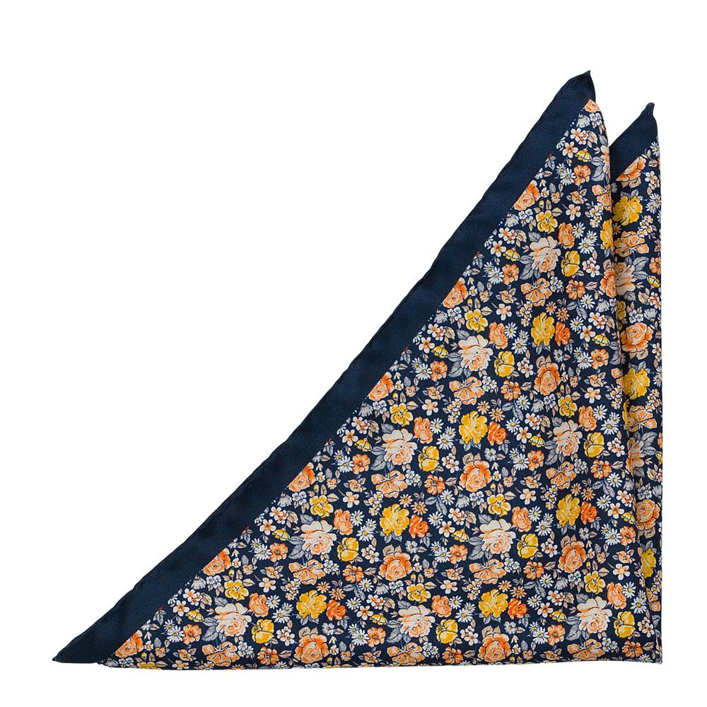 Silke Lommetørkler, Gule, oransje & hvite blomster på mørk marineblått