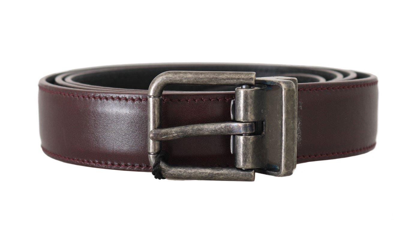 Dolce & Gabbana Men's Leather Brushed Buckle Belt Bordeaux BEL50192 - 110 cm / 44 Inches