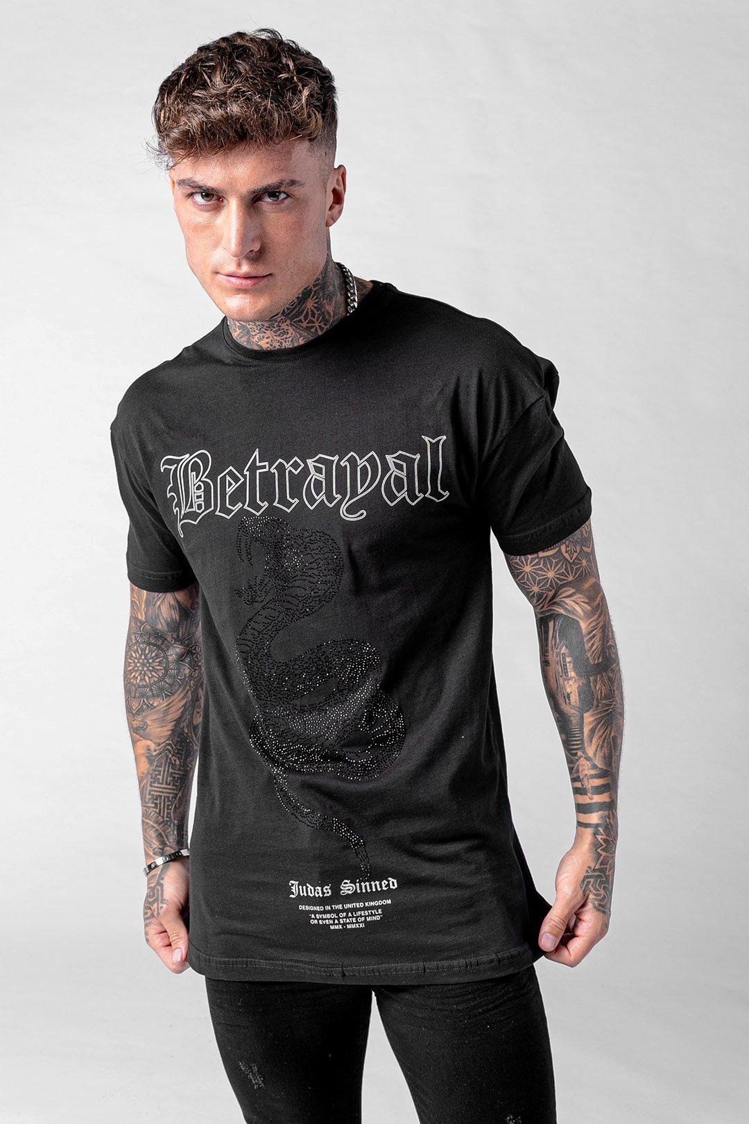 Cobra Betrayal Snake Print Crystal Men's T-Shirt - Black, XX-Large