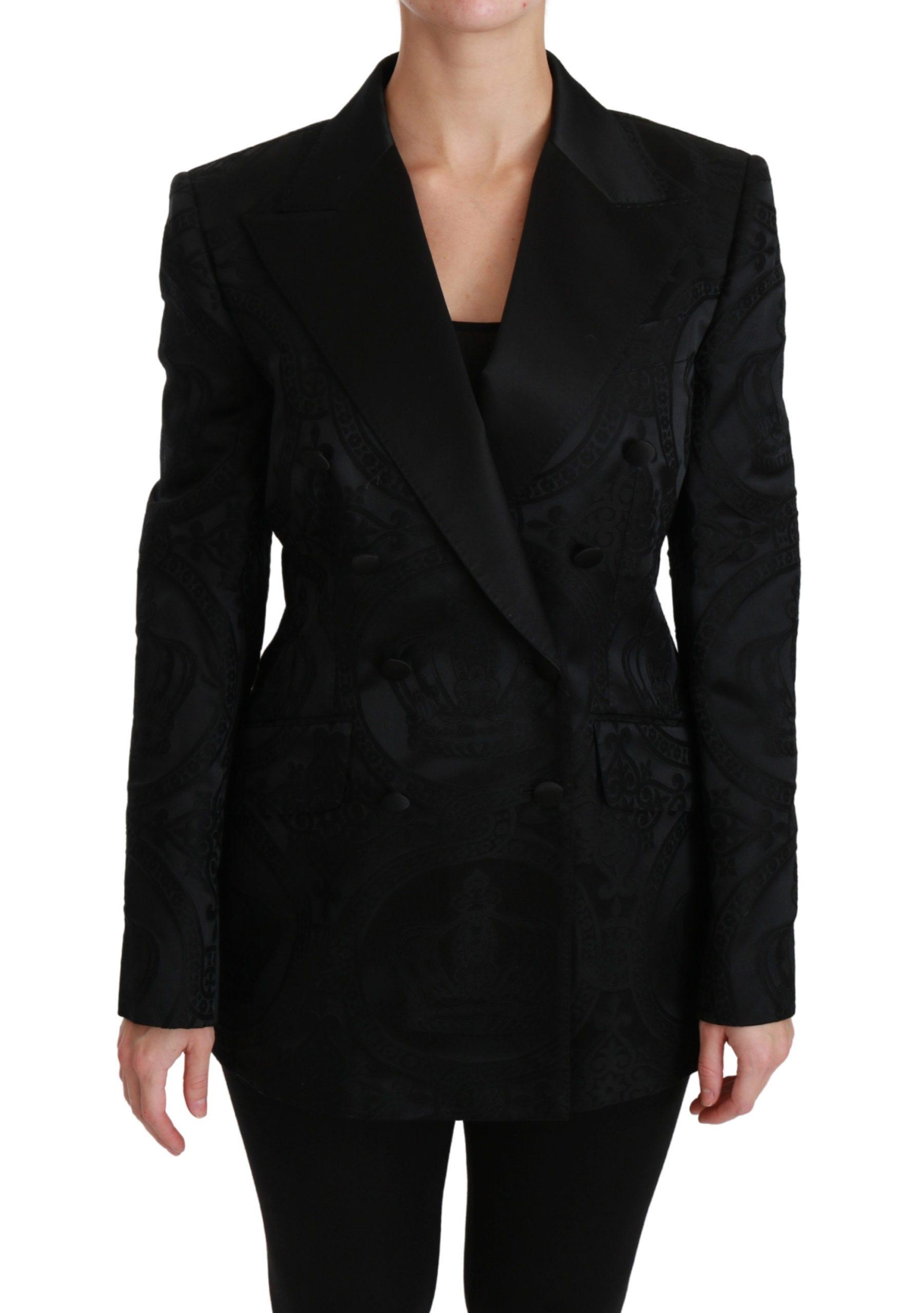 Dolce & Gabbana Women's Crown Double Breasted Blazer Black JKT2535 - IT44|L