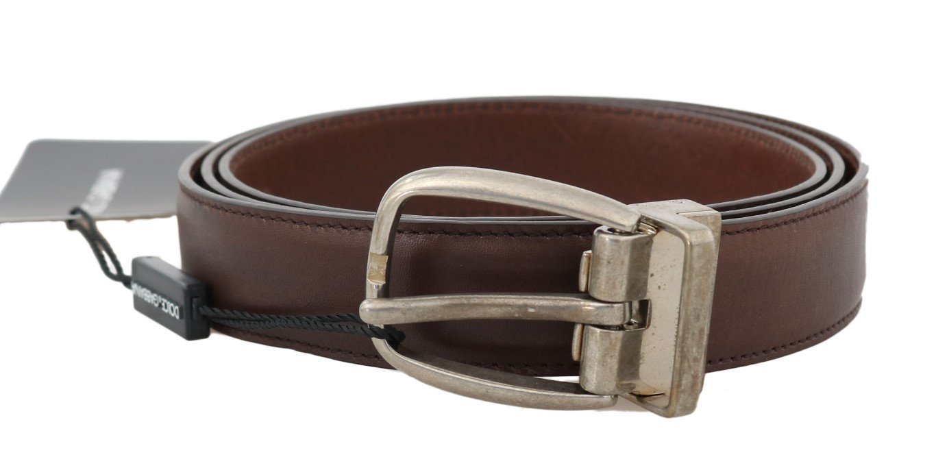 Dolce & Gabbana Men's Leather Oval Buckle Belt Brown BEL50065 - 100 cm / 40 Inches