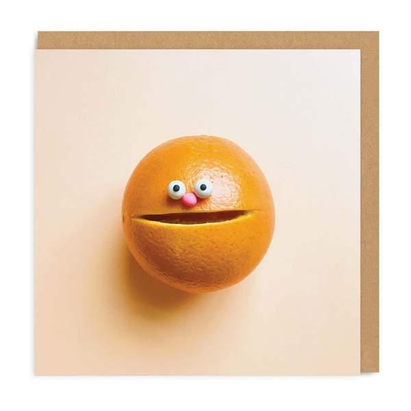 Orange Smiley Face Square Greeting Card