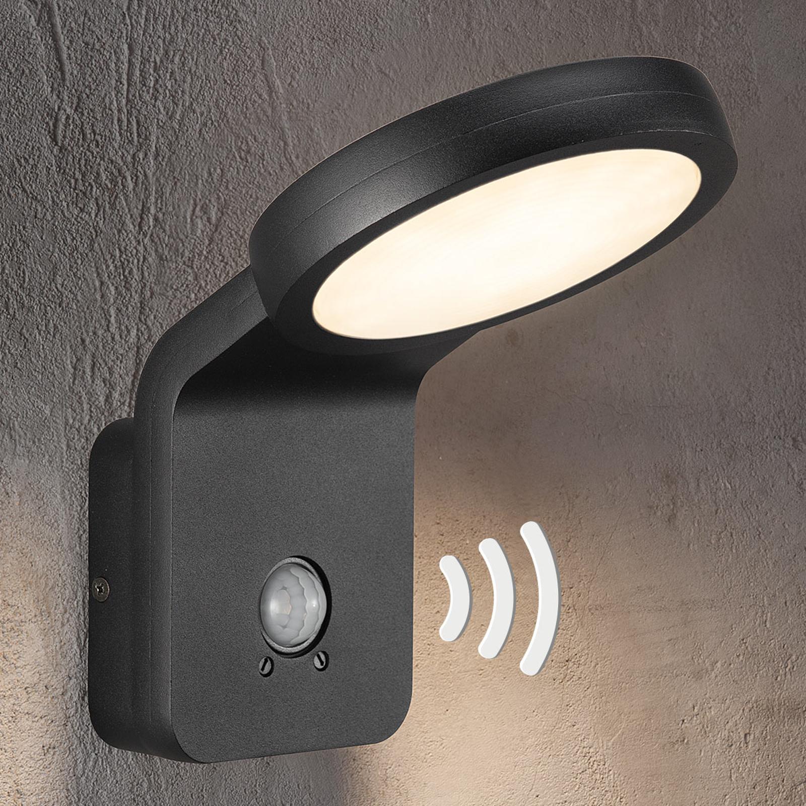 LED-ulkoseinävalaisin Marina, IR-anturi, musta