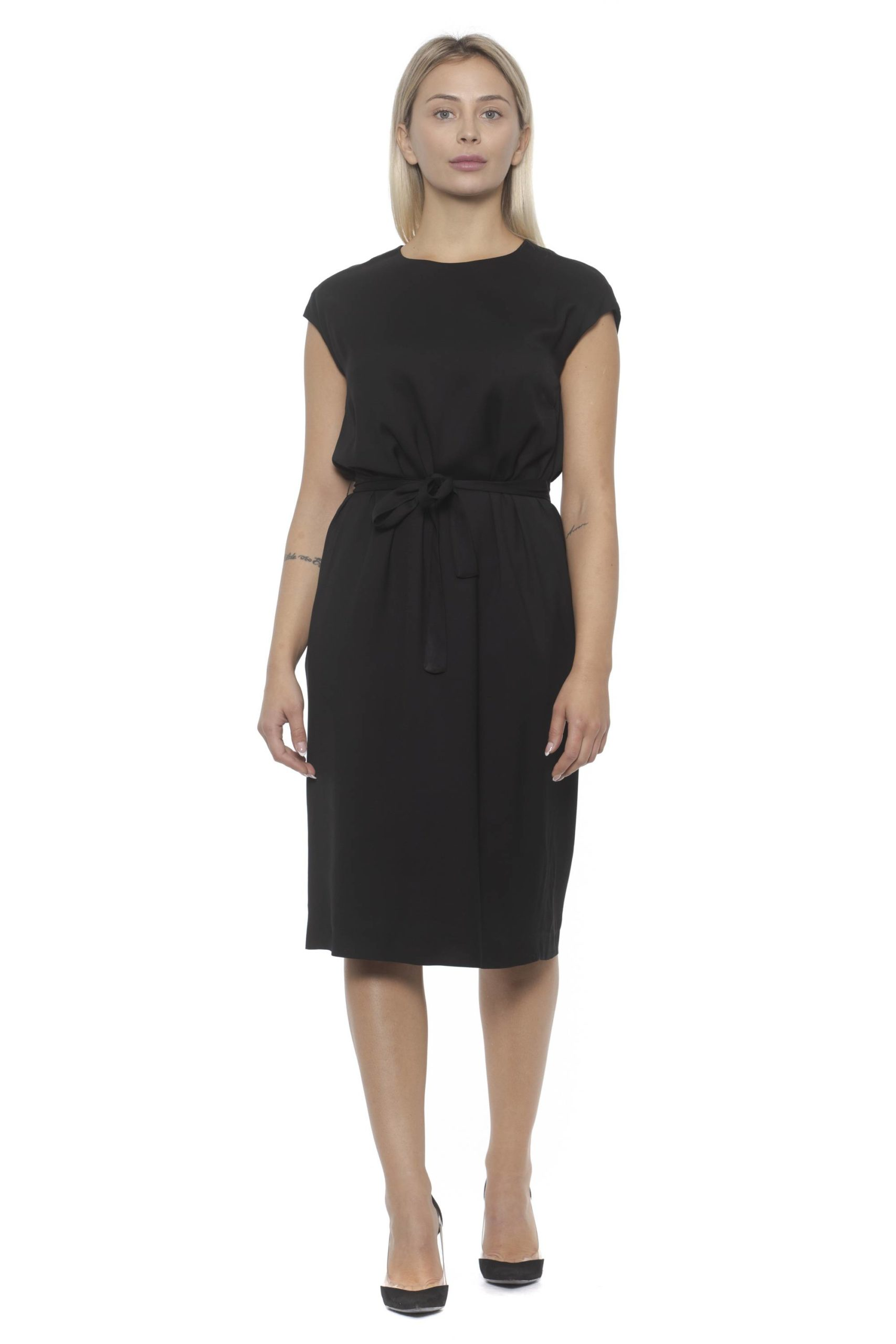 Peserico Women's Nero Dress Black PE1383172 - IT42 | S