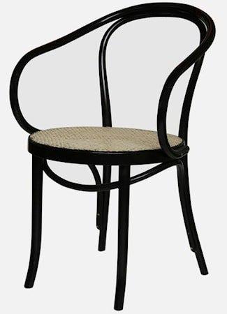 Thonet No 30 karmstol med rottingsete