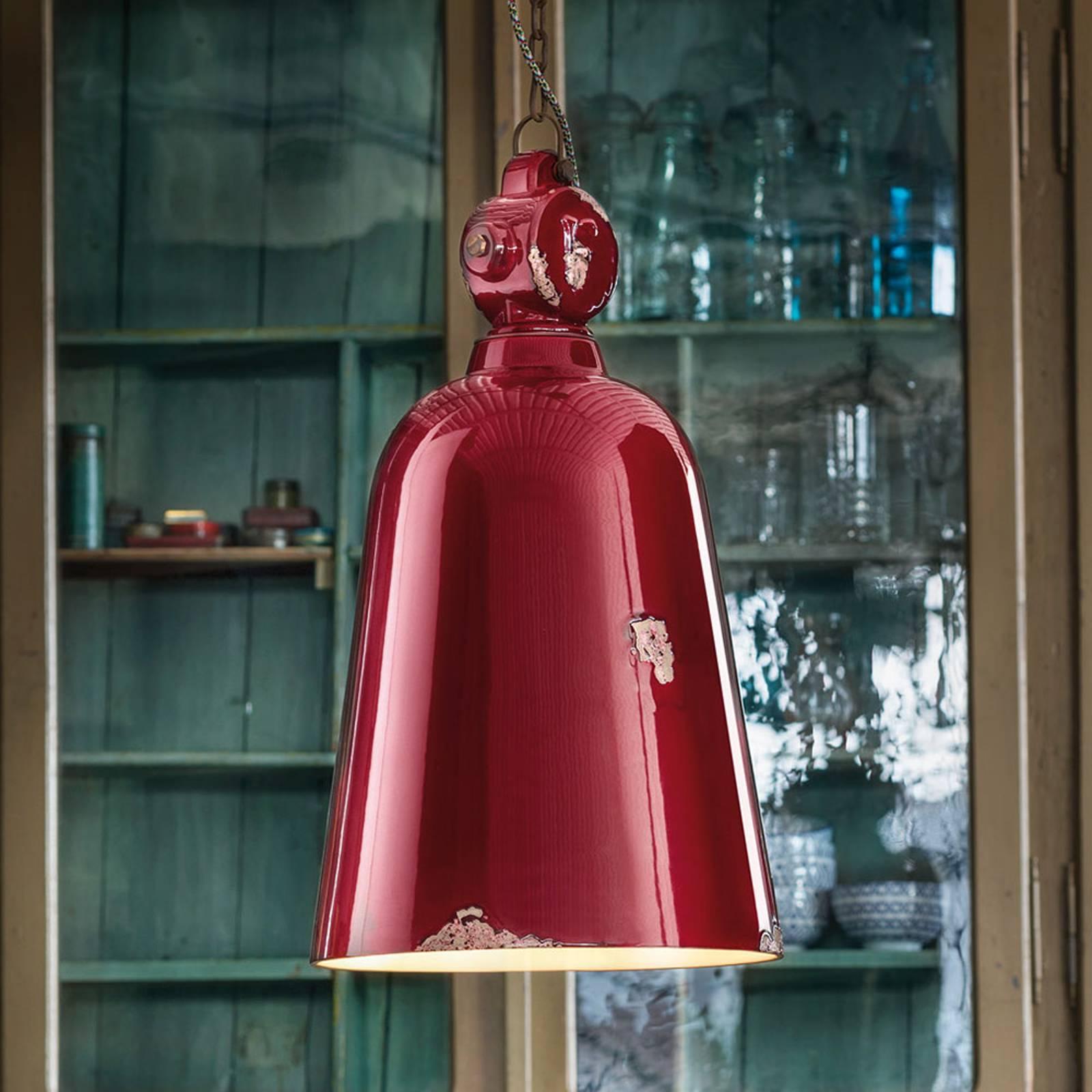 Vintage-riippuvalo C1745, kartiomainen, punainen