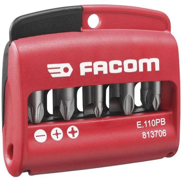 Facom E.110PB Bitssett i etui 10 stk, Phillips, Pozidriv, spor