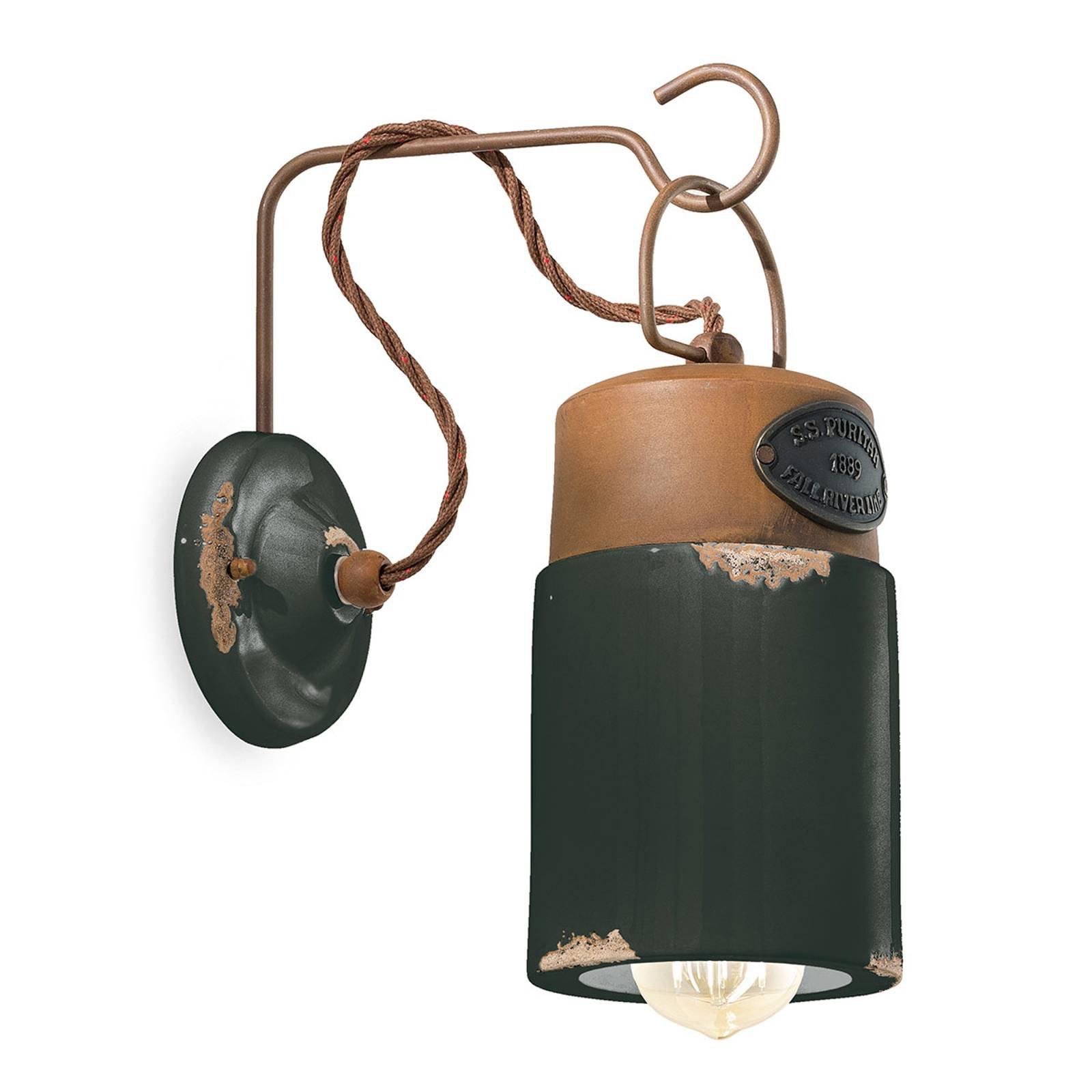 Vegglampe C1621, keramikk og metall, svart