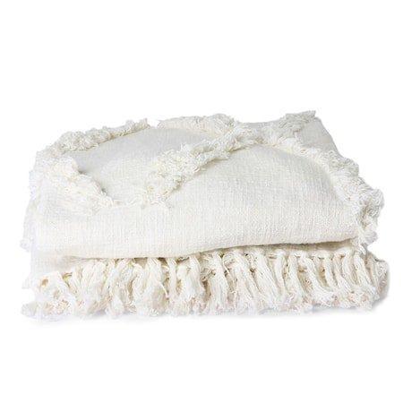 White Fringe Sengeteppe 270x270 cm