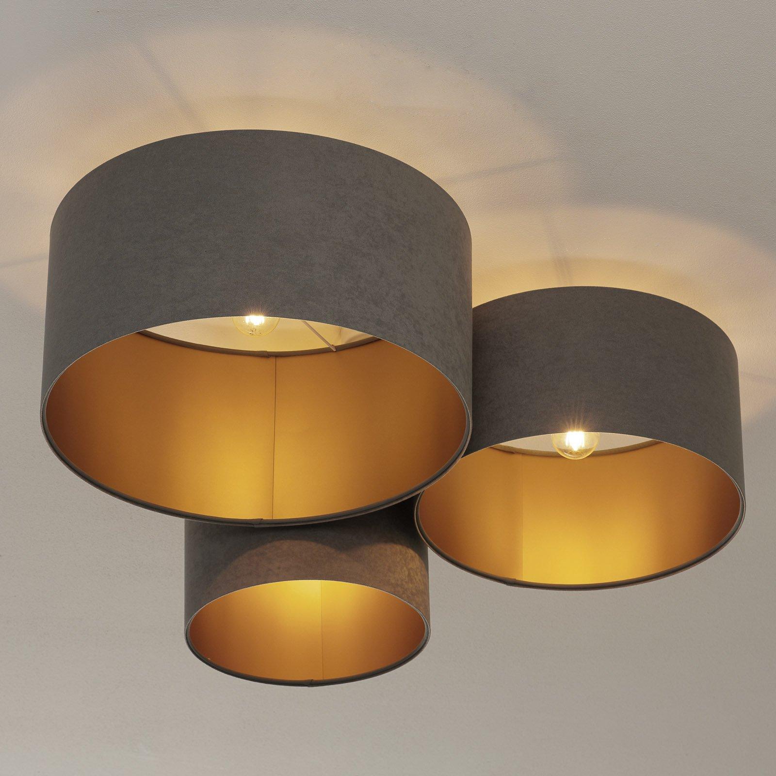 Taklampe 080, 3 lyskilder, lysegrå-gull